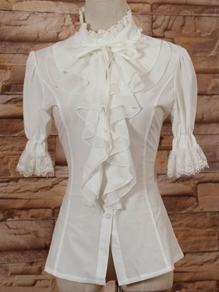 Milanoo White High Collar Lolita Blouse Middle Sleeves with Ruffles