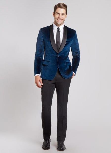 Mens Navy Blue Dinner Jacket Velvet tuxedo Black lapel Shawl Lapel