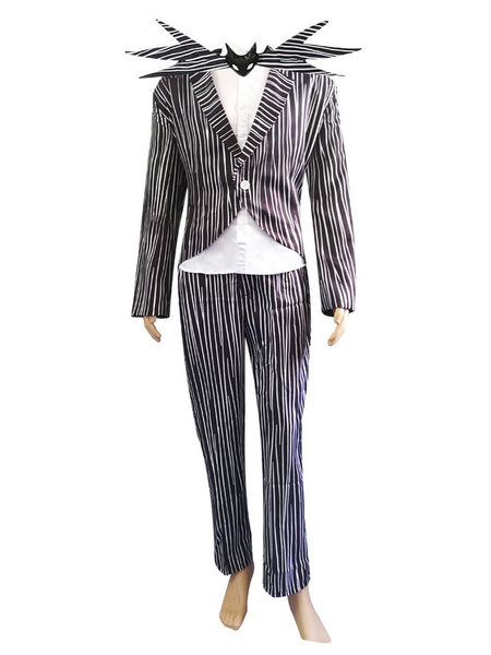 Milanoo The Nightmare Before Christmas Skeleton Jack Outfit Cosplay Costume Halloween