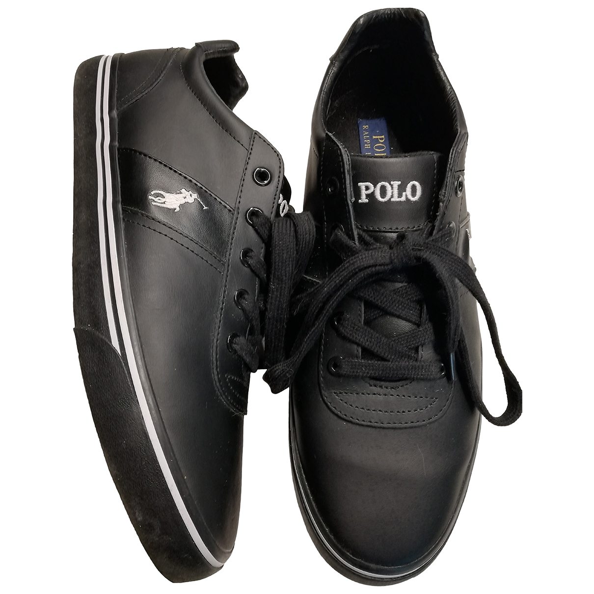 Polo Ralph Lauren \N Black Leather Trainers for Men 44 EU