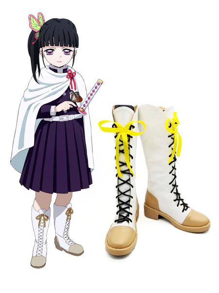 Milanoo Demon Slayer: Kimetsu No Yaiba Kanao Tsuyuri White Boots Anime Cosplay Shoes