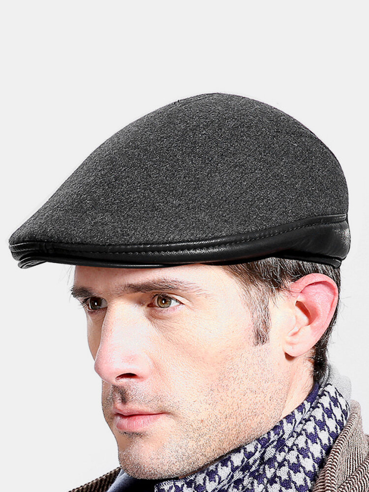 Men Wool Winter Outdoor Keep Warm Solid Color Casual Universal Forward Hat Beret Hat Flat Cap