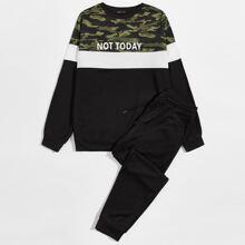 Pullover mit Camo Muster Einsatz, Farbblock und Jogginghose Set mit Kordelzug auf Taille