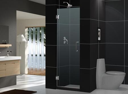 SHDR-20257210F-06 Unidoor 25 In. W X 72 In. H Frameless Hinged Shower Door  Clear Glass  In Oil Rubbed