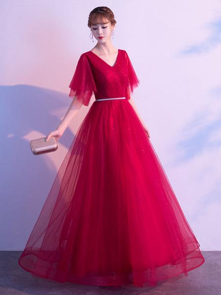 Milanoo Evening Dress A Line V Neck Matte Satin Floor Length Sequins Formal Party Dresses