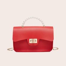 Turn-lock Flap Satchel Bag