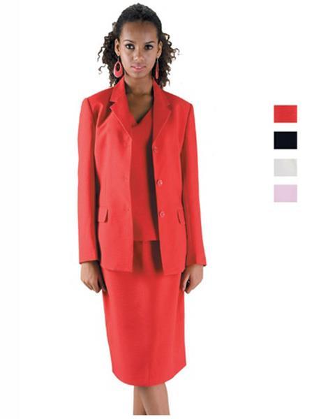 Womens 3 Button Notch Lapel Red Suit