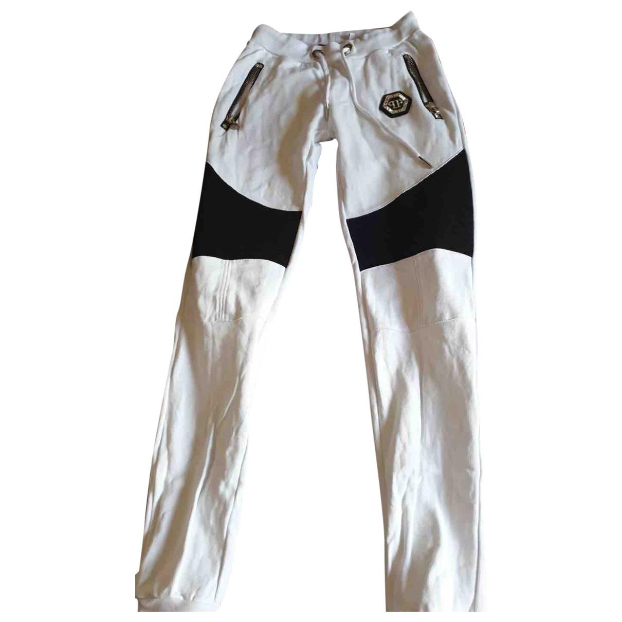 Pantalon en Algodon Blanco Philipp Plein