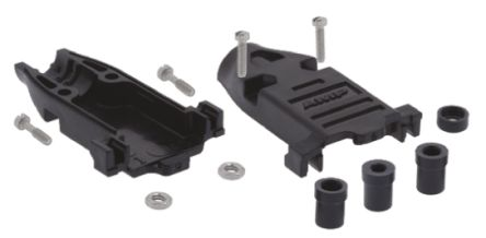 TE Connectivity , Amplimite ABS D-sub Connector Backshell, 9 Way, Black
