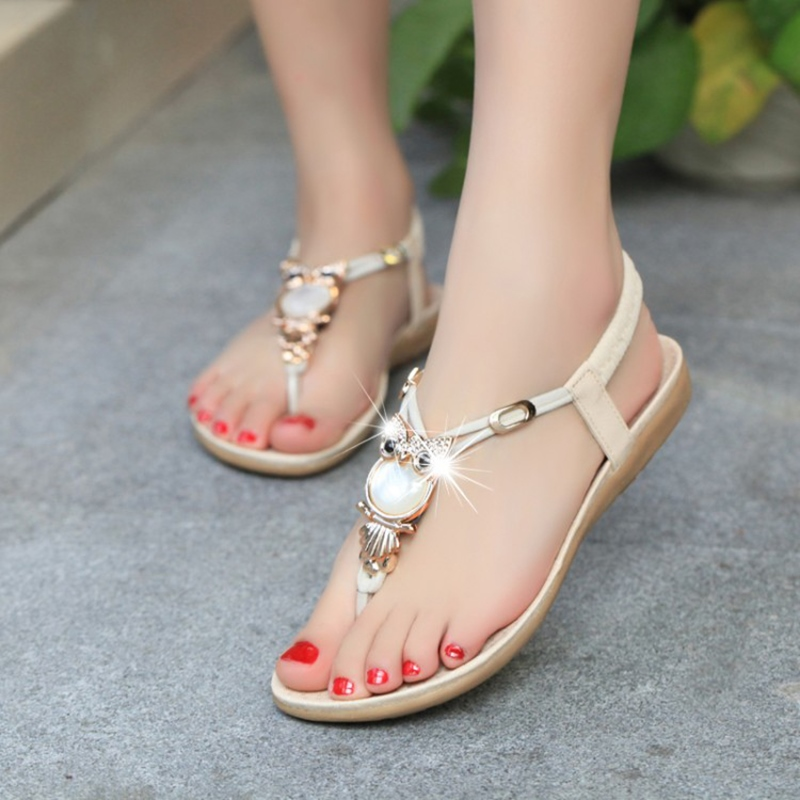 Ericdess Simple Metal Decoration Flat Sandals