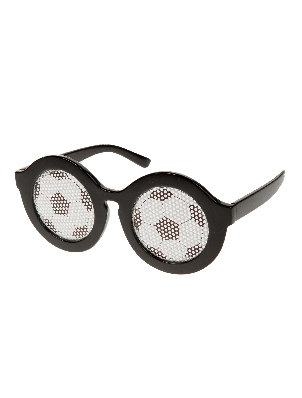 Kostuemzubehor Brille Fussball Farbe: schwarz/weiss