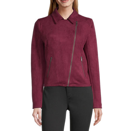 Liz Claiborne Suede Lightweight Motorcycle Jacket, X-small , Red