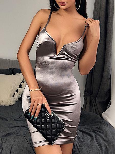 Milanoo Vestidos ajustados Correas gris claro Cuello sin espalda Casual Vestido sin mangas de lapiz