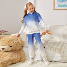 Girls Ombre Drop Shoulder Hoodie & Sweatpants Set