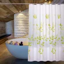 Plants Print Shower Curtain With 12pcs Hook