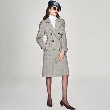 Jazzevar Mantel mit zweireihigen Knopfen, Guertel und Karo Muster