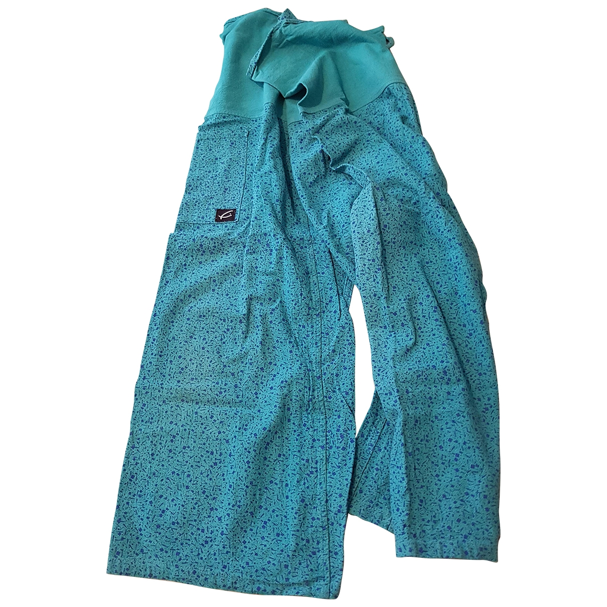 Non Signé / Unsigned Oversize Blue Cloth Trousers for Women One Size International