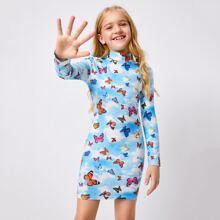 Kleid mit Stehkragen, Schmetterling Muster und Batik