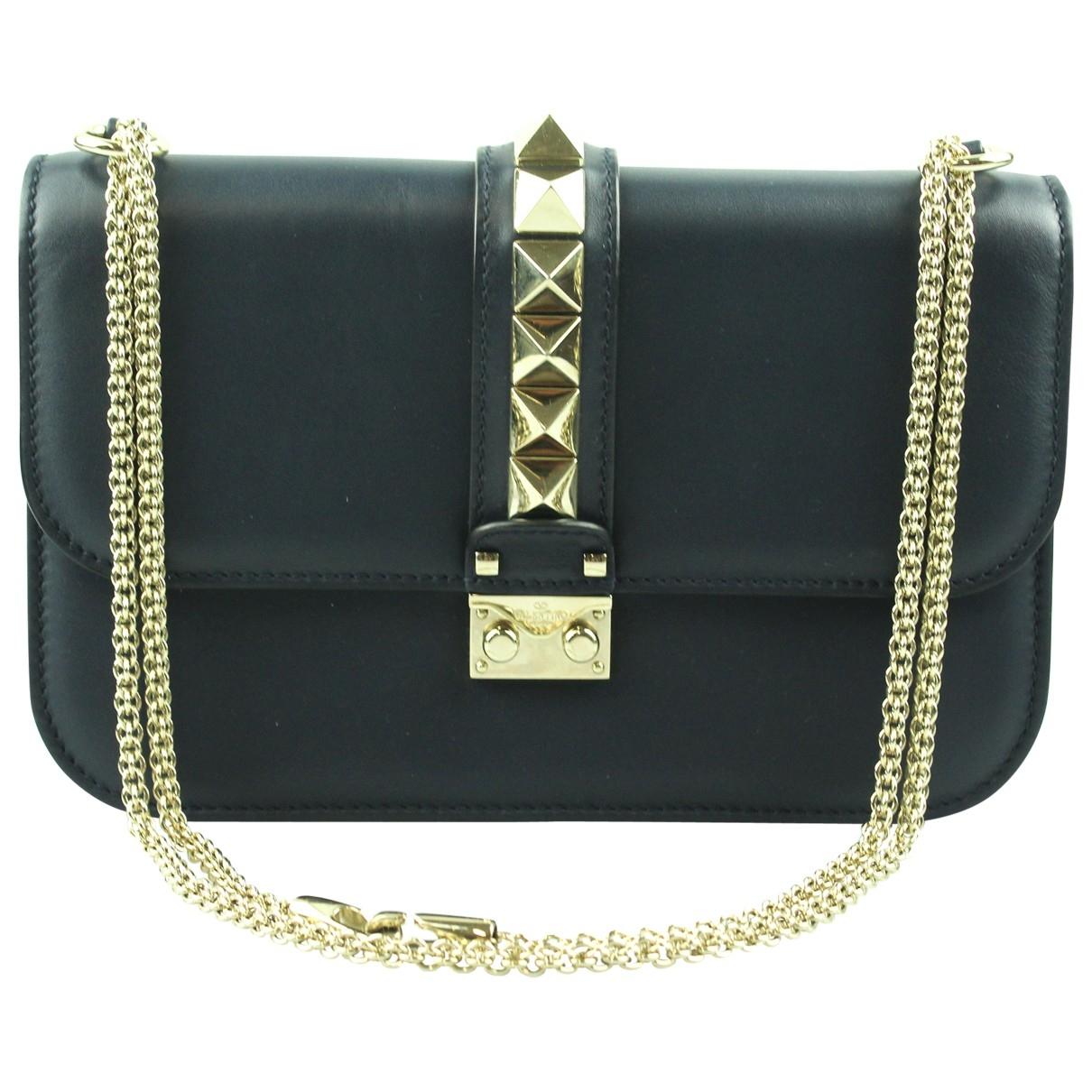 Valentino Garavani Glam Lock Handtasche in  Marine Leder