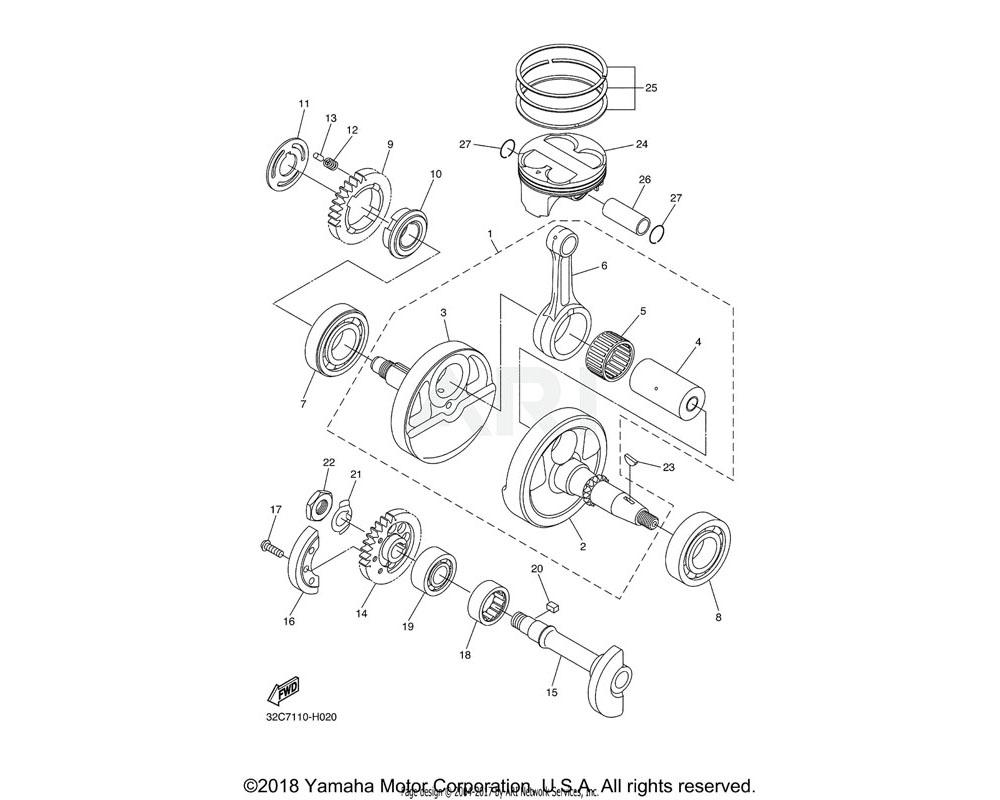 Yamaha OEM 3D7-11681-01-00 PIN, CRANK 1