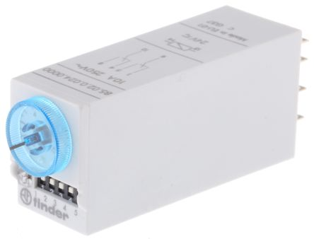 Finder DPDT Multi Function Timer Relay - 0.05 → 100 s, 3 → 100 min, 5 → 100 h, 2 Contacts, Snap-On