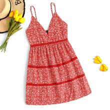 Lace Insert Ditsy Floral Mini Cami Dress