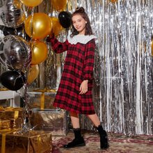 Girls Christmas Ruffle Trim Schiffy Yoke Plaid Dress