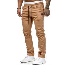 Pantalones de pierna recta de cintura con cordon