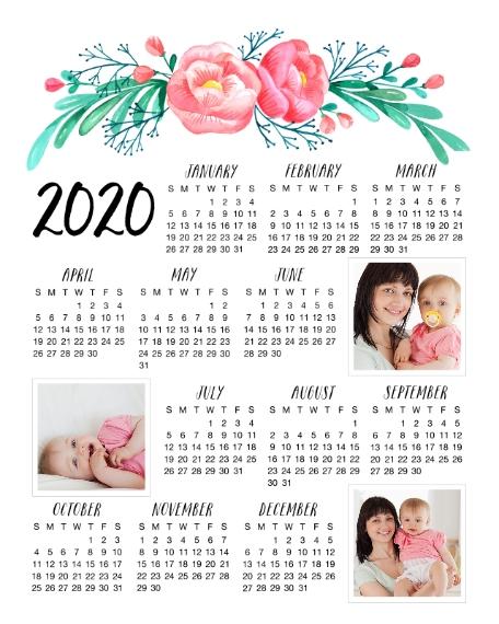 Calendar 16x20 Adhesive Poster, Home Décor -Floral