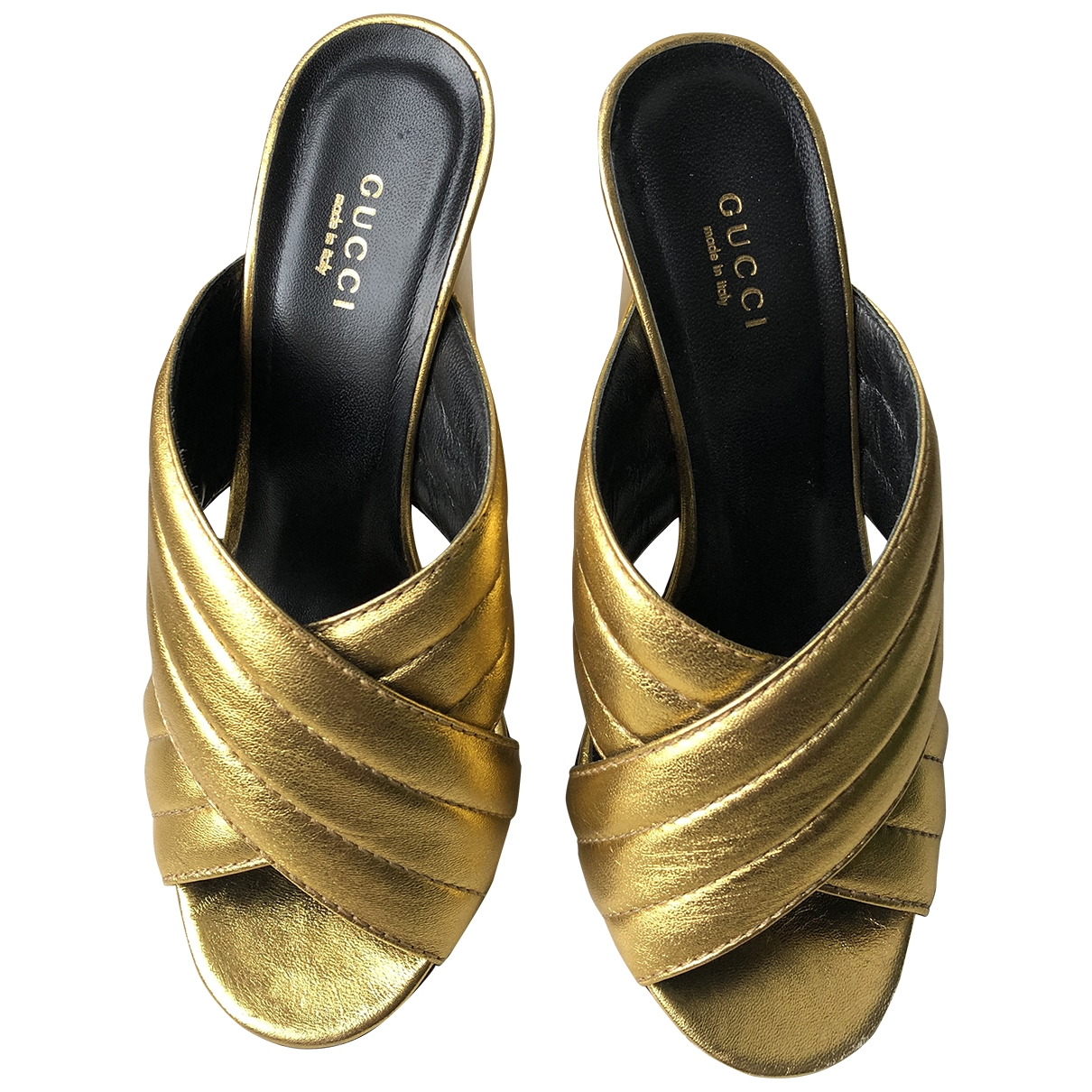 Gucci - Sandales   pour femme en cuir - dore