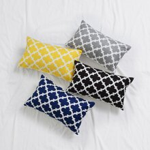 1pc Geometric Pattern Lumbar Pillowcase Without Filler