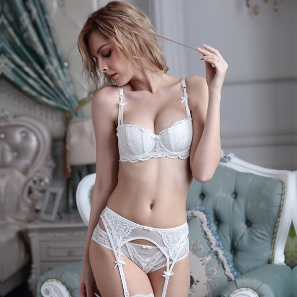 Sexy Floral Lace Style And Cotton Material Bra Underwear Sets