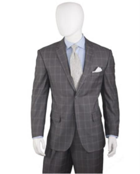Mens Grey 2 Buttons Plaid ~ Window Pane Suit Pleated Pants Regular Cut
