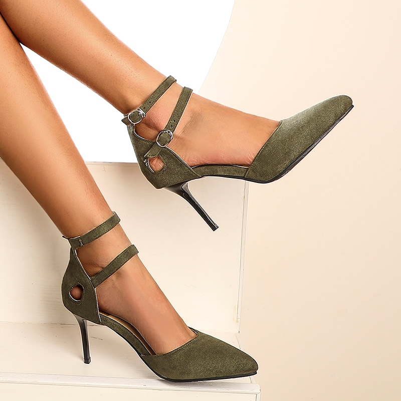 Ericdress Heel Covering Stiletto Heel Pointed Toe Hollow Sandals