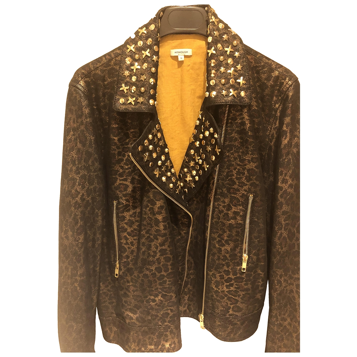 Manoush \N Gold Leather Leather jacket for Women 42 FR