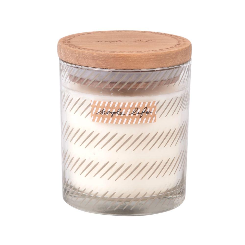 Duftkerze im Glasbehaelter mit Bambusdeckel