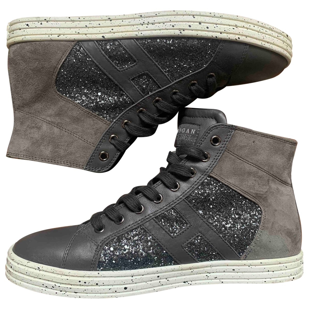 Hogan \N Anthracite Leather Trainers for Women 39.5 EU