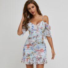 Schulterfreies Chiffon Kleid mit mehrschichtigem Raffungsaum und Blumen Muster
