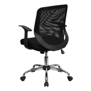 Mid-back Black Mesh Office Chair with Mesh Fabric Seat (Black)