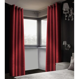 Linen Look Blackout curtains 2Pack (Red)