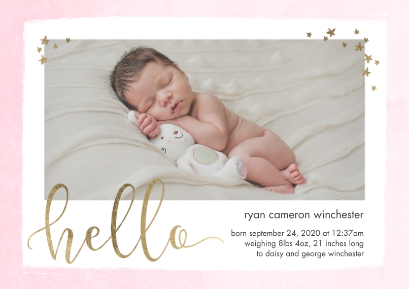 Baby Announcements Flat Glossy Photo Paper Cards with Envelopes, 5x7, Card & Stationery -Baby Hello Stars by Tumbalina