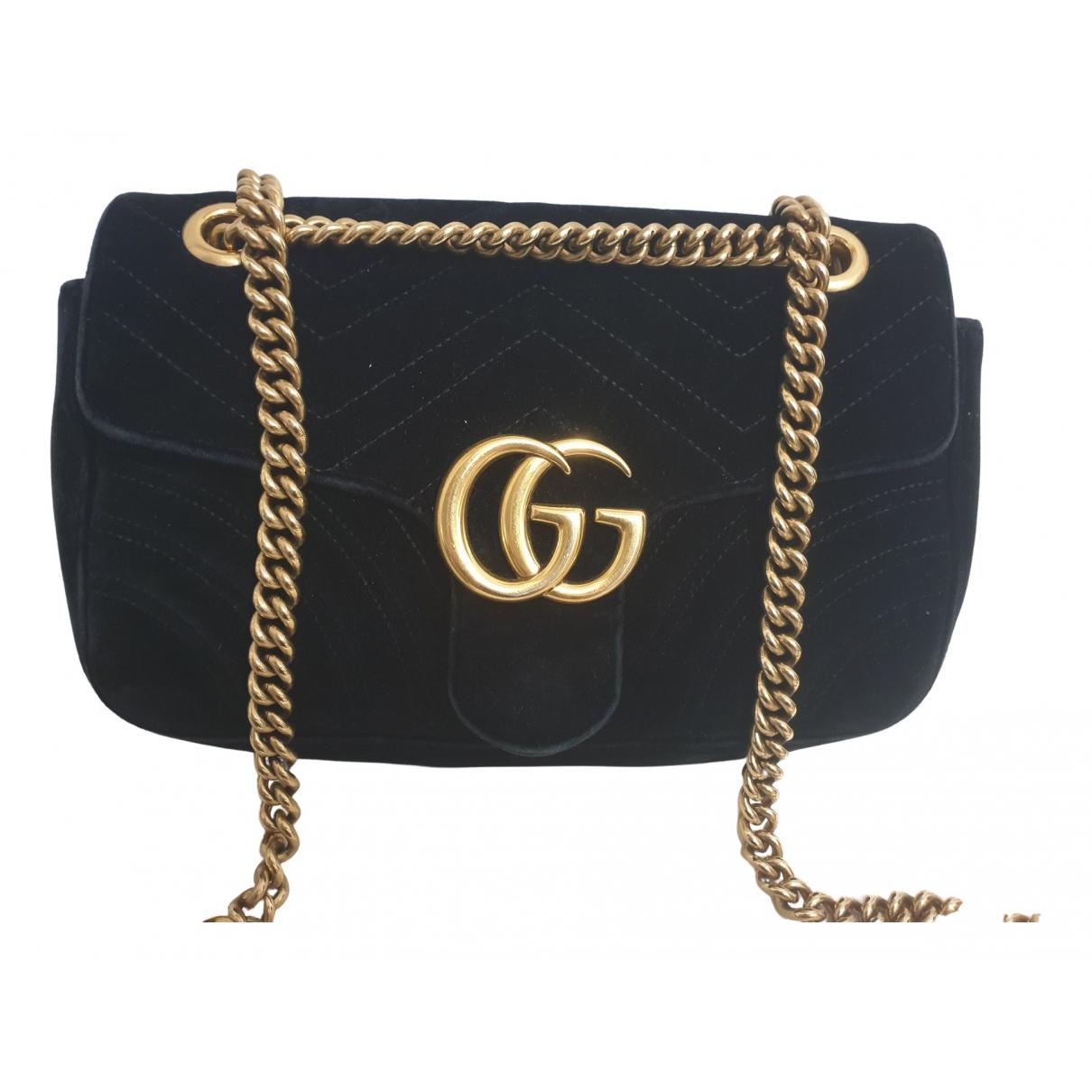 Gucci - Sac a main Marmont pour femme en velours - noir