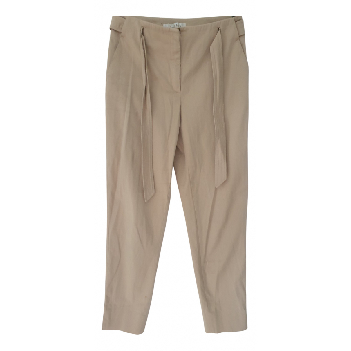 Max Mara \N Beige Cotton Trousers for Women 10 UK