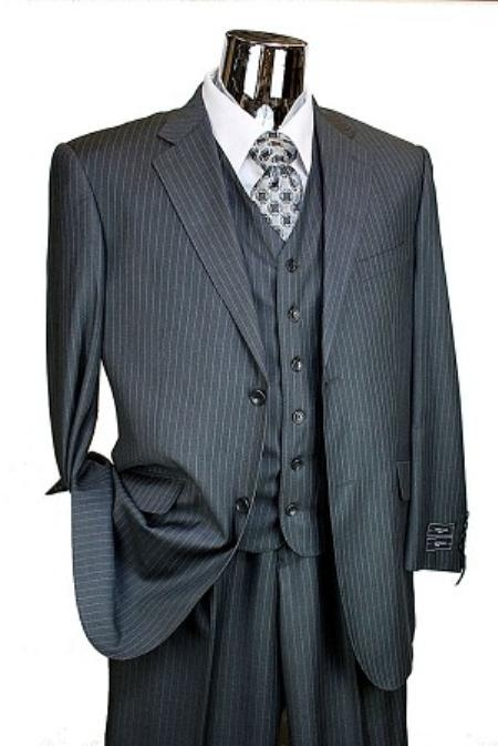 2 Button 3 Piece Charcoal Pinstripe Italian Designer Suit Mens