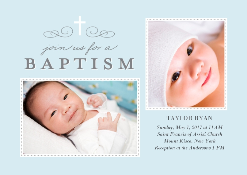 Baptism Invitations Flat Glossy Photo Paper Cards with Envelopes, 5x7, Card & Stationery -Baptism Cross Collage