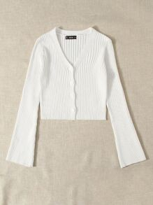 Button Placket Ribbed Knit Solid Cardigan