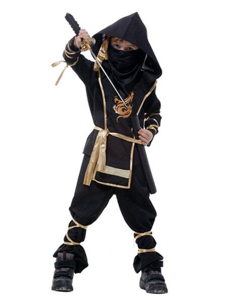 Milanoo Disfraz de niños Halloween Halloween Negro Ninja Disfraz Tradicional Japonesa Disfraz Cosplay para Niños Halloween Disfraz Carnaval Disfraz Ha