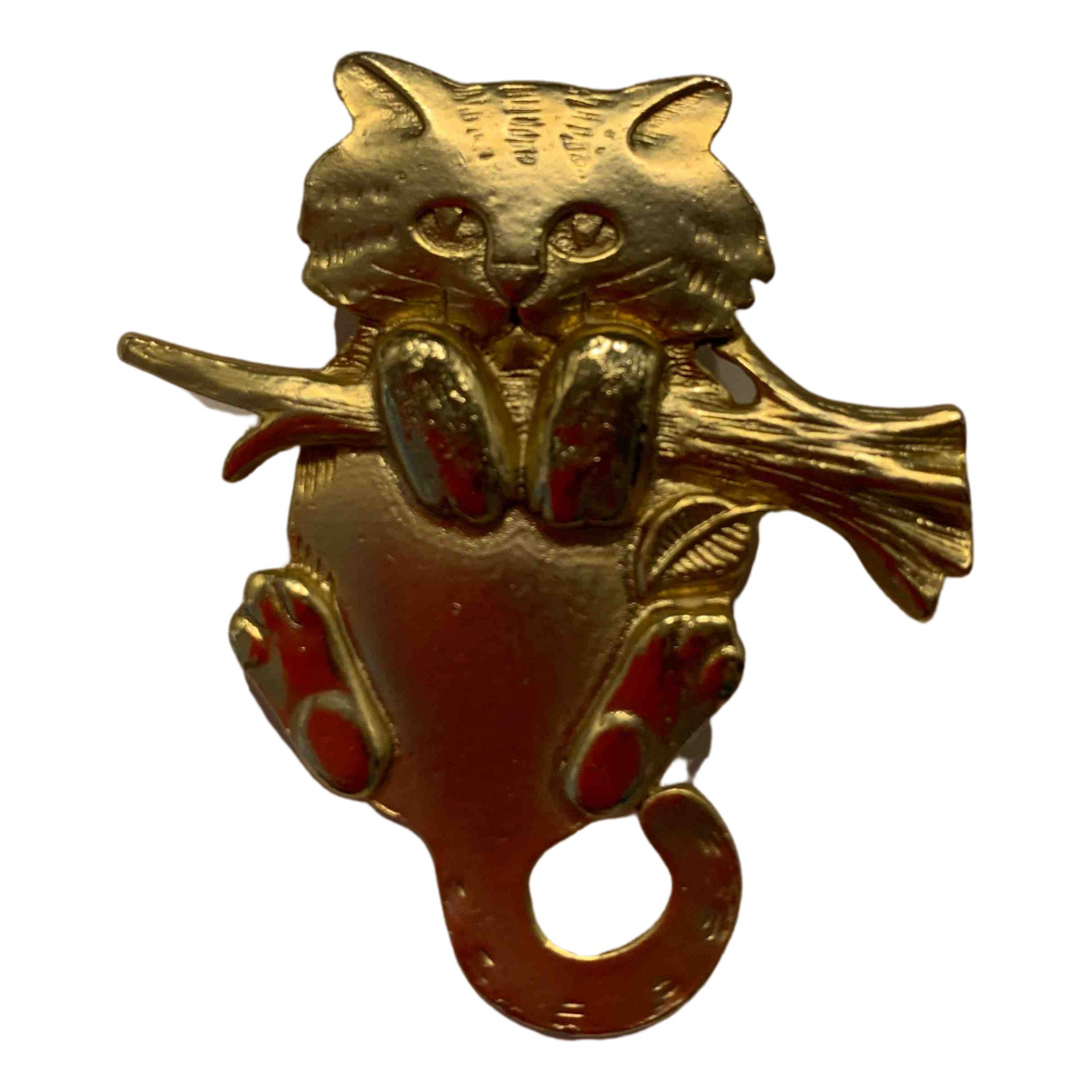 Non Signe / Unsigned Motifs Animaliers Brosche in  Gold Metall