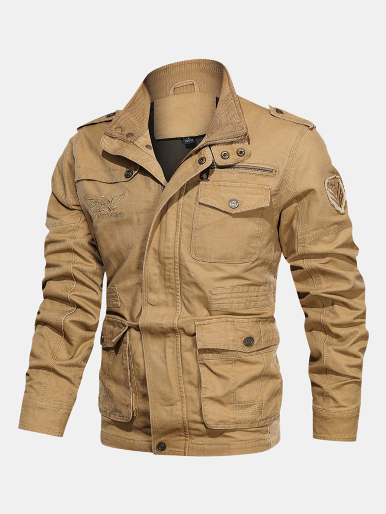 Mens Cool Cotton Multi Pockets Solid Color Windproof Cargo Jackets