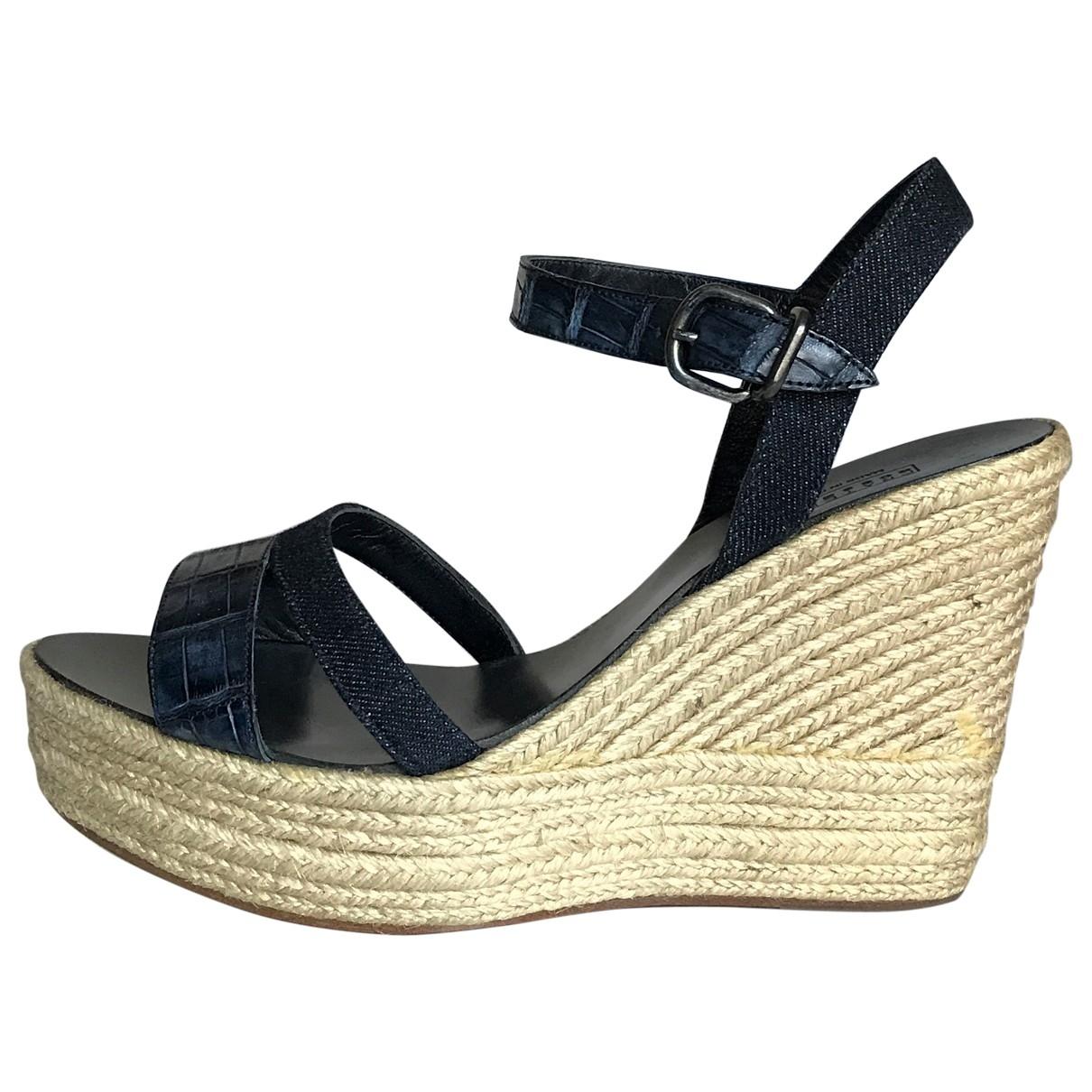 Fratelli Rossetti \N Navy Leather Sandals for Women 38.5 EU